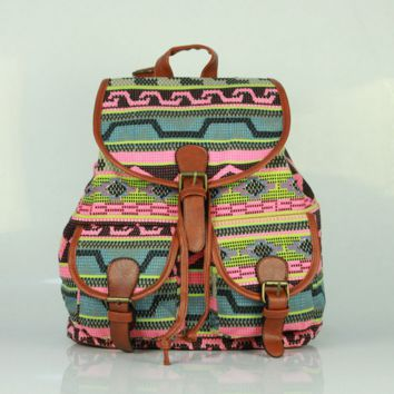 Ethnic Printed Cute Large Casual Backpacks for School Bag Canvas Daypack Travel Bag