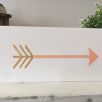 Gold and coral arrow wood sign, handmade wood sign, home decor wood sign, wood signs, home decor, house warming gift