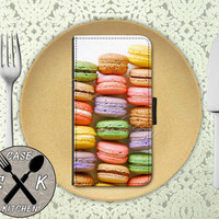 Macaron Cookies Rainbow Colored French Macaroon Cookie Cute Wallet Phone Case For iPhone 4/4s and iPhone 5 and 5s and 5c iPhone 6 and 6 Plus