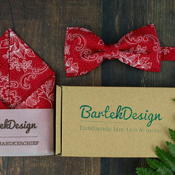 Red Bow Tie Red Pocket Square Matching Set Floral Bow Tie Red Handkerchief Wedding Bow Tie for Men Red Hankie Gift for Men Groomsmen Gift