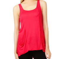 LE3NO Womens Loose Ruched Sleeveless Long Tank Top