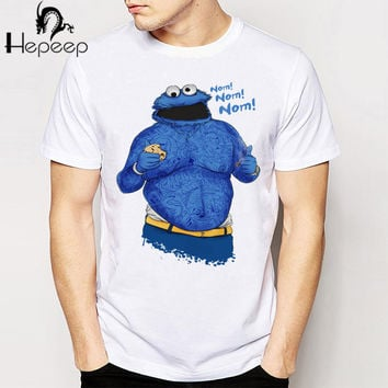 New Vintage Retro Cool Cartoon Punk T-shirt Top Tee C is for Cookie Monster Nom! Nom! Word