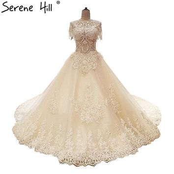 White Exquisite Luxury  Wedding Dress Pearls Sequined   Lace Bridal Gowns 2018 Vestido De Noiva Real Pictur