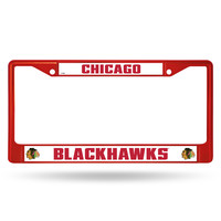 Chicago Blackhawks Metal License Plate Frame - Red