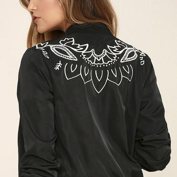 Mink Pink Valley of the Vine Black Bomber Jacket
