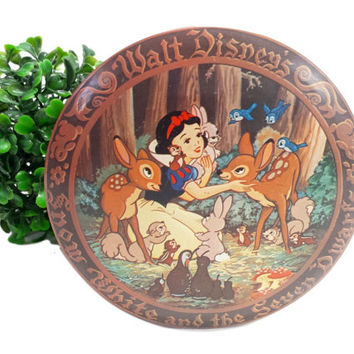 Snow White Tin Vintage Walt Disney Collectible Disneyana Round Metal Candy Box Lid Container Nursery Kids Room Decor