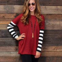Racing Stripes Burgundy Stripe Sleeve Tunic