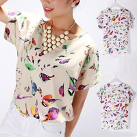 Hot Women's Colorful Bird Pattern Print Short 2014 Hot Sale Sleeve Chiffon Shirt Top Blouse 2037