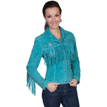 Scully Womens Leather Fringe Beaded Western Lined Jacket Turquoise