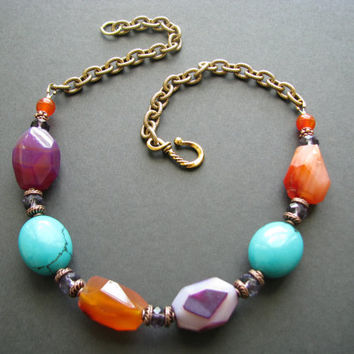 Multicolor Gemstone Statement Necklace Chunky Beaded Jewelry Turquoise Purple Agate Necklace Gold Chain Bead Necklace Orange Agate Necklace