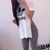 """ADIDAS""Fashion print loose leisure side open T-shirt"