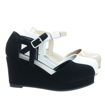 RonniIIs Black By Soda, Girl / Children's Platform Wedge Closed Toe Pump w Open Side D'Orsay