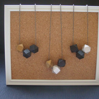 modern geometric hand painted wooden beads necklace on gunmetal ball chain