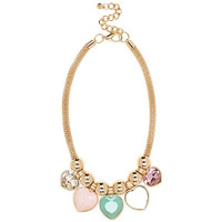 Gold tone multicoloured heart stone necklace - necklaces - jewellery - women