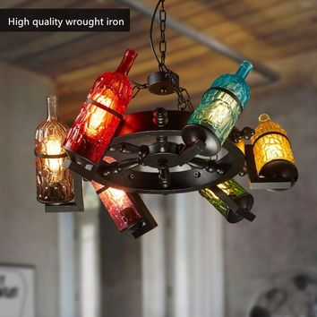IWHD American Style Loft Hanging Lamp Wine Bottle 6 Heads Luminaire Home Lighting Fixtures Bar cafe Pendant Lights Glass Lampen