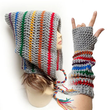 FREE Shipping - Crochet Festival Rainbow Hood & Fingerless gloves - Rainbow & Gray
