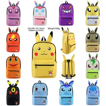 Anime Pokemon Go backpack Pocket Monster Pikachu Eevee cosplay Backpack Canvas shoulder bag Cartoon knapsack Rucksack 14 styles