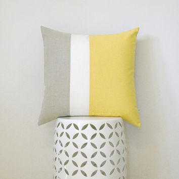 20x20 Butter Yellow Linen Colorblock Cushion Cover with Cream Stripe by JillianReneDecor - Mid-Century Home Decor - Pastel Yellow Pillow