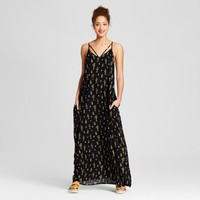 Women's Maxi Dress with Pocket Cactus Print - Xhilaration™ Black Cactus Print