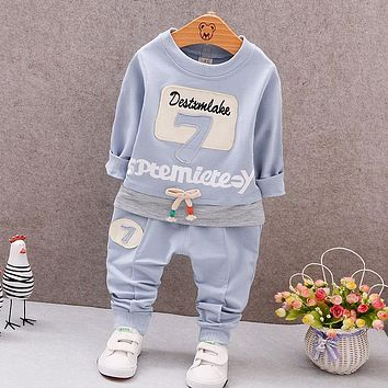 Spring Newborn Baby Clothes Set Baby Boy Clothes Digital English Pattern 2pc Infant Clothing Costume Long Sleeve T-Shirt Pant