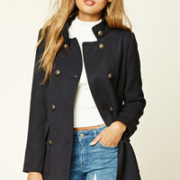 Padded Mock Neck Peacoat