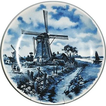 Souvenir Plate Mill with Cow Blue