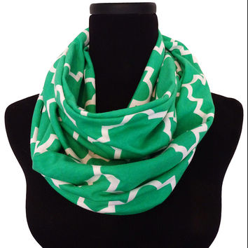 Kelly Green Quartrefoil Aqua Infinity Scarf-Circle, Loop, Eternity All Seasons Scarf