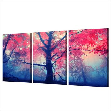 3 Pieces Red Maple Tree in Woods Natural Scenery Wall Art Panel Print On Canvas