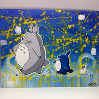 Totoro trio acrylic  painting on canvas panel hanging wall décor