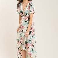 Cassandra Ivory Floral Wrap Maxi Dress