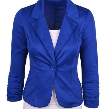 Lapel Collar Long Sleeve One Button Blazer