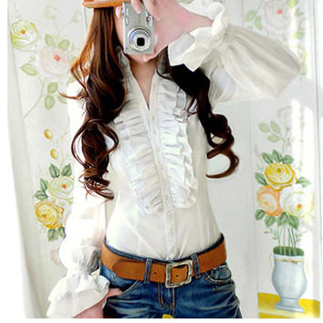 2016 Luxury Victorian Tops Women Shirt Ruffles Flounce Ladies Blouse Top White Shirt for women High Quality