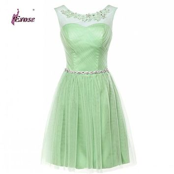 Pretty Short Mint Green Bridesmaid Dresses 2017 Sheer Scoop A-Line Tulle Wedding Party Dresses Maid of Honor Vestidos De Noiva