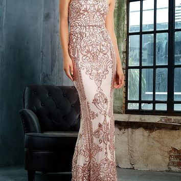 Jolynn Gold Detailed Maxi Formal Gown