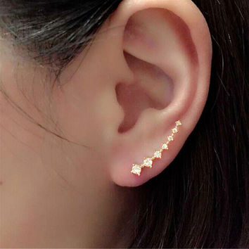 Fashion Lady Women Elegant Long Crystal Rhinestone Ear Stud Hook Earrings Jewelry Gift