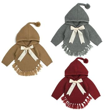 Baby Girl knitted Girls Sweaters Cape Hooded Children Bow Knitted Cardigans Fringe Toddler Children Jackets Baby