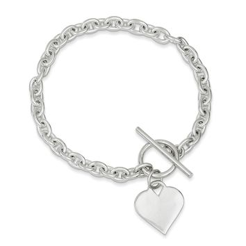 Sterling Silver 8 Inch Heart Toggle Bracelet