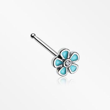 Adorable Plumbago Flower Sparkle Nose Stud Ring