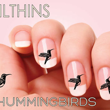 20 HUMMINGBIRDS black Nail Decals Nail Art   NAILTHINS Black Bird nail design