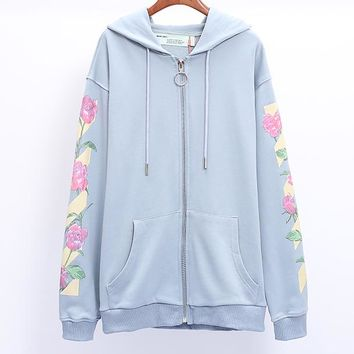 OFF-WHITE Tide brand couple peony flower arrow loose zipper hooded sweater