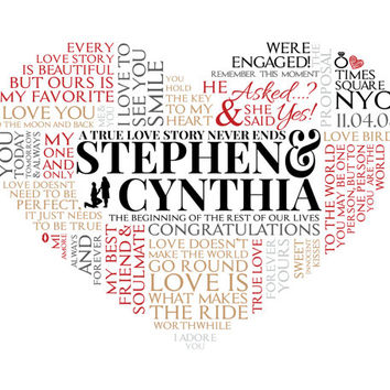 Personalized Heart Engagement Word Art