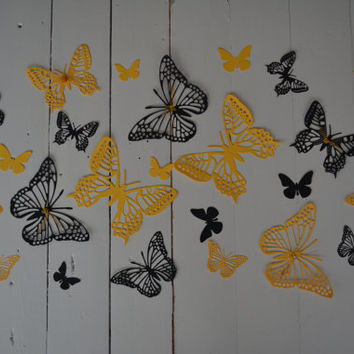 3D paper nursery butterflies of textured card stock wall art in yellow and black --- As weddingdecor or special wedding decoration