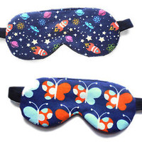 Sleep Mask Girl Blindfold Kid Eye Shade Rocket Star Planet Nap Toddler Small NIP
