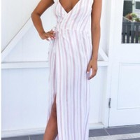White-Pink Striped Backless Slit Spaghetti Strap High Waisted Casual Maxi Dress