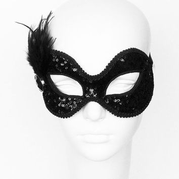 Sequined Shimmering Black Masquerade Mask -  Venetian Style Glitter Prom Mask With Feathers