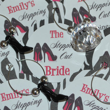 Wine Charm Favors Last Fling Stepping Out Customized Personalized Bachelorette Party