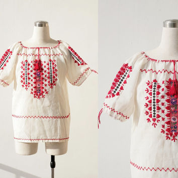 1960's vintage Russian ethnic white embroidered blouse L XL, boho folk peasant top