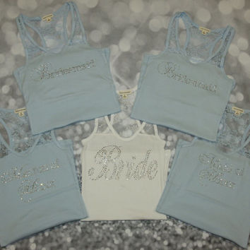 5 Bridesmaid Tank Tops with lace half back and rhinestone writing. Mother of the Bride. Maid of Honor. Matron of Honor. Bachelorette tanks