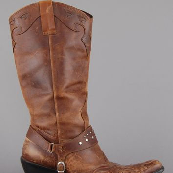 Studded Harness Leather Cowgirl Boots