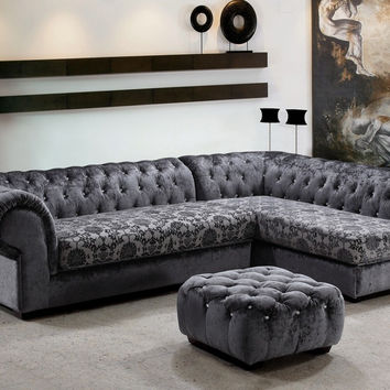 Divani Casa Metropolitan - Modern Fabric Sofa Sectional with Tufted Acrylic Crystals VG2T0669-1